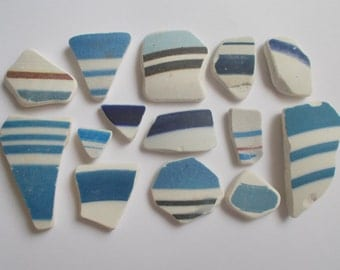 14 Blue and white stripe sea pottery pieces