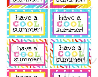 INSTANT DOWNLOAD End of the school year Have a COOL Summer Card / Note  - Printable