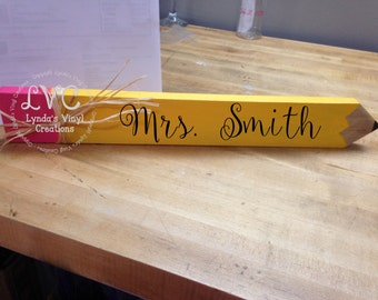 Pencil Teacher Sign