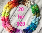 1.00 Each Hair Bows / Bow Set of 20 Twenty Boutique Hair Bow Clip / READY TO SHIP / You Pick The Colors
