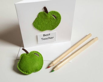 Teacher apple brooch /badge and matching card.