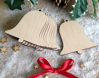 Wooden Wedding or Christmas Decoration Bell Shape, Gift Tag