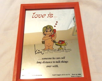 Kim framed picture mirror Love is Someone he can call long distance... 1970's collectible price has been reduced 20%