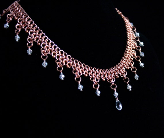 Chainmaille and Crystal Copper Pendant Necklace