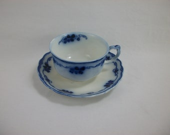 SALE Flow Blue Clover Coffee Cup and Saucer by Grindley