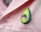 Avocado Girl Handmade Pin