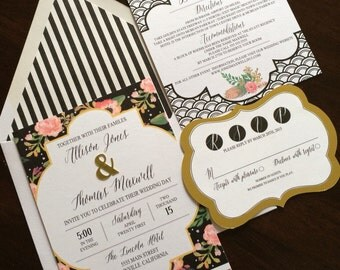 Gold and floral wedding invitation DEPOSIT