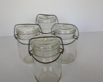 Glass Lidded Pint Canning Jars - Set of 3