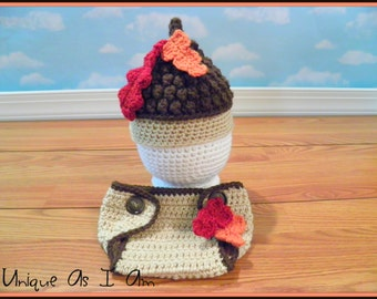 Crocheted Newborn Baby Fall Acorn Hat and Diaper Cover/Photo Prop