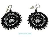 Bear Claw Cabochon Tribal Beaded Earrings In Black And White