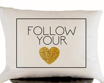 Decorative Throw Pillow Cover in White Linen with Gold Heart, Wedding Anniversary Gift, Graduation Present, Cushion Cover, Accent Pillows