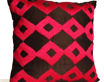 Decorative Throw Pillow -Brown Hot Pink Pillows -Fuchsia Ikat Embroidered Pillow -Accent Pillows -Couch Pillow -Gift -All Sizes -Wedding