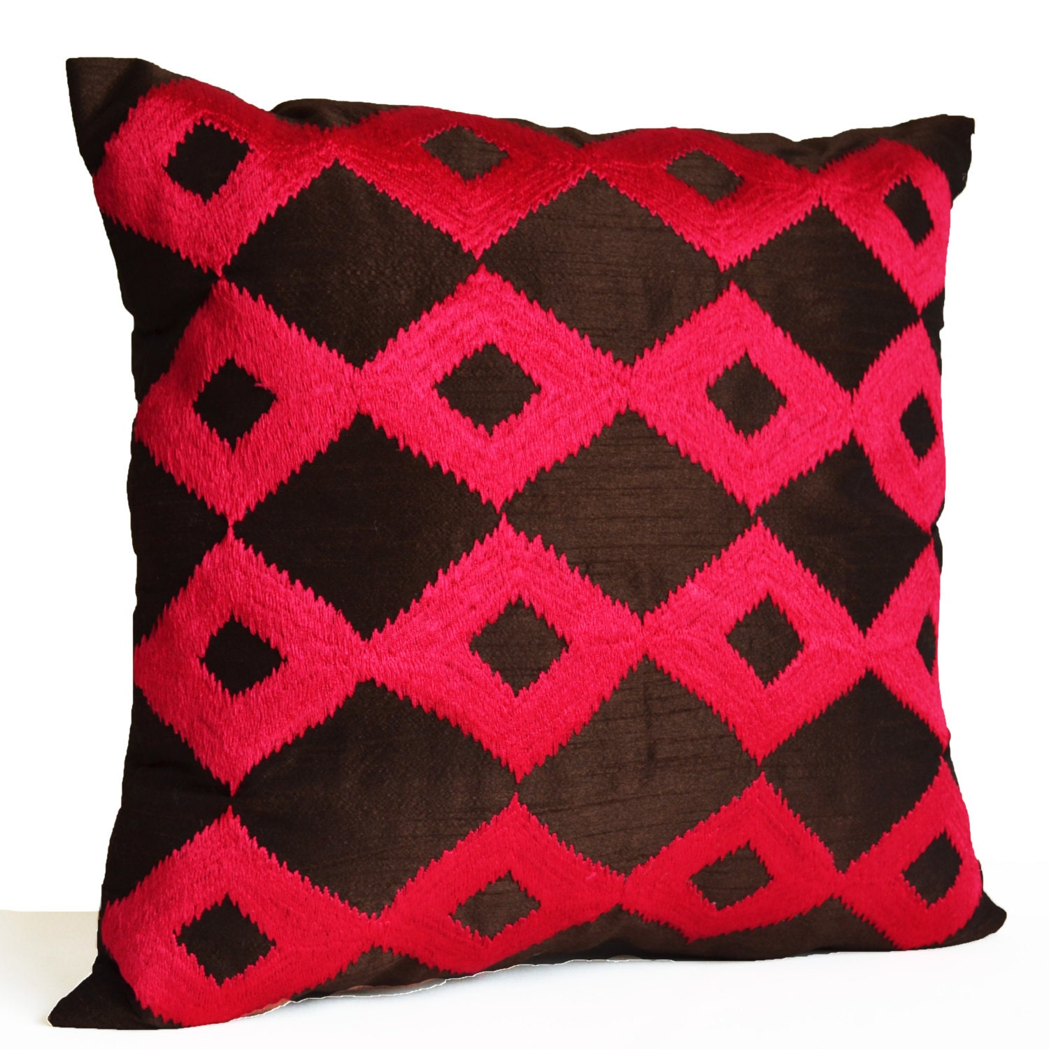 Decorative Throw Pillow Brown Hot Pink Pillows Fuchsia Ikat