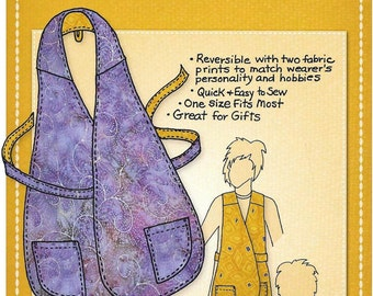 Wrap Front Apron Pattern, Another Reversible Apron with Personality, By Mary Mulari Designs