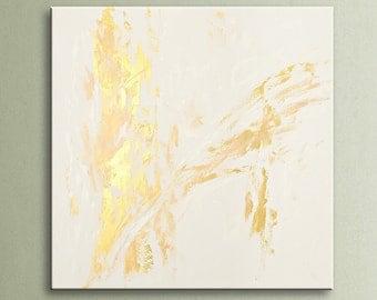 "Abstract painting original acrylic wall art large modern art decor 36"" Gold White Original Abstract Acrylic Painting Wall Art AU09"