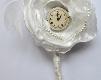 Vintage Timepiece Buttonhole Groom Boutonniere Groom Wedding
