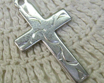 Vintage Sterling Silver CROSS Pendant...Embossed Floral Pattern...Wedding...Birthday Cross....Circa 1970s