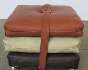Mid Century Tri-Color 3 Cushion Rolling Ottoman/Footstool