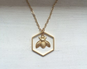 Gold bee necklace, golden bee, bumble bee, queen bee, gold bee charm, hexagon, honeycomb