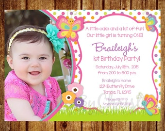 Butterfly Photo Birthday Invitation for Girls- Digital File - DIY Printable Butterfly Invitation 1st, 2nd, 3rd, 4th, 5th, 6th