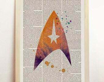Star Trek Fleet Watercolor Print Spock Space Scifi Starship Enterprise Geekery Nerd Kirk Art Space Upcycled Dictionary Book A4 8.3 x 11.7 in