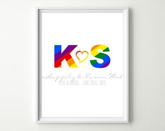Gay Wedding Keepsake - Lesbian Wedding Wall Art Print - Personalized Rainbow Flag Artwork - Gay Wedding Gift - His & His or Hers and Hers