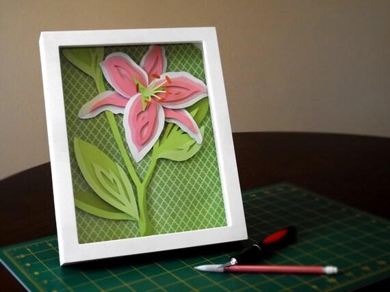 Commission: Stargazer Lily Shadow Box