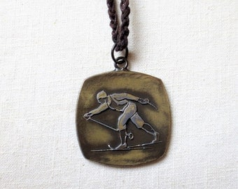 Men's Necklace, Vintage Skier Medal Brushed Brass, Jewelry