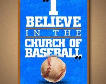 "BULL DURHAM ""Church Of Baseball"" Movie Quote Poster"