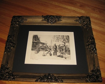 "ANTIQUE WOOD GESSO Frame 20 3/4"" x 25"" Point Mugo Print By Lionel Barrymore Signed As Part Of Print"