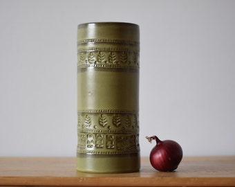 Bitossi Italy - tall vase - cylindrical - olive green - leaf decor - V 110/25 - midcentury