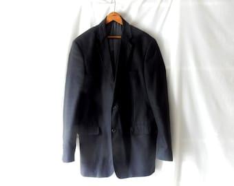 Men's 42L Saddlebred Cotton Sport Coat Blazer Jacket - Summer - Size 42 L - Black 2 Button