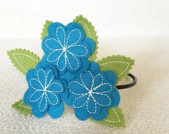 Soft Teal Flower Bouquet Headband
