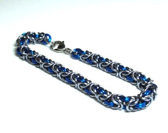 Blue and Gun Metal Anodized Aluminum Byzantine Chainmaille Bracelet