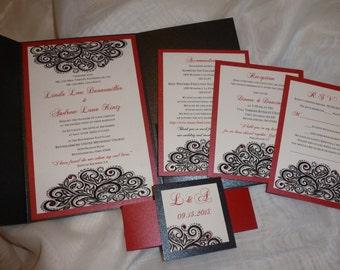 """black pocket fold Luxury Wedding Invitation ( sample)  -"""" Luxury on  Black """""""