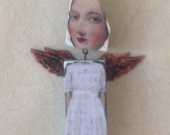 Mixed media Wood, bead and bone doll