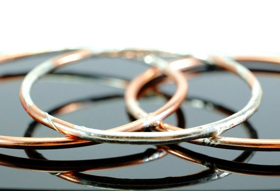 Copper and Silver Jangly Bangles