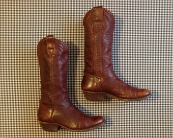 1977, brown, soft leather, handmade Western boots, by Stewart Boot Co. INC, Men's size 9.5 D