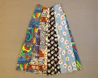 1990's, rayon, button front, A line skirt, in multi patterned, panels, Women's size 4