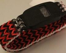Beautiful Handmade Black Red and Glow In The Dark Latex free Rocking triple fish tail by rainbow loom Digital watch