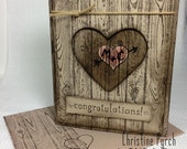 Custom Made Personalized Rustic Greeting Card for Wedding/Engagement/Valentine's Day/Anniversary