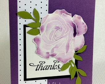 Thank You Greeting Card Customer Appreciation Hostess Thank You Watercolor Flower