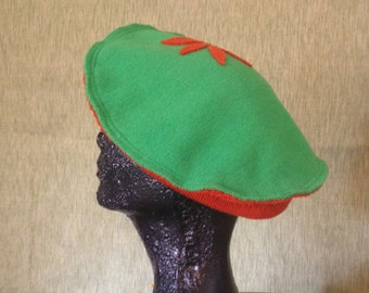 Perky Orange & Green Wool Beret with Flower handmade from recycled materials