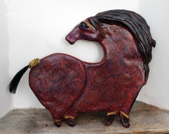 Nyx-OOAK Ceramic Horse Wall Decor