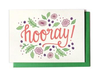 Hooray! Congratulations Card - Congrats Card - Happy Card - Engagement Card - Wedding Card - Celebration Card