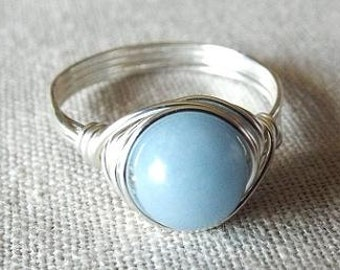 Angelite Ring, Light Blue Ring, Wire Wrapped Ring, Sterling Silver Filled Ring, Blue Stone Ring, Wire Wrapped Jewelry Handmade, Cute Ring