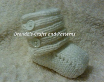 PDF knitting pattern for Baby's Ugg Boots