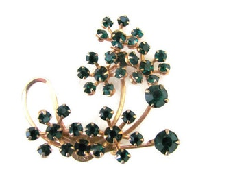 Vintage Green Brooch, 1960's Green Rhinestone Brooch, Pin, Emerald Green Brooch, 1960's Brooch, Jewelry