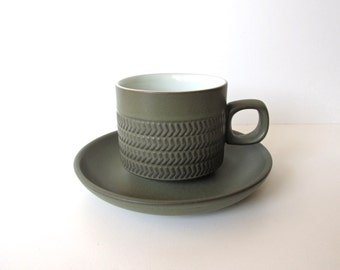 Vintage Denby Chevron Camelot Cup And Saucer