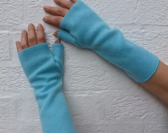 Cashmere ladies fingerless gloves blue arm warmers gift for her eco-friendly winter gloves cashmere recycled handmade turquoise blue mittens